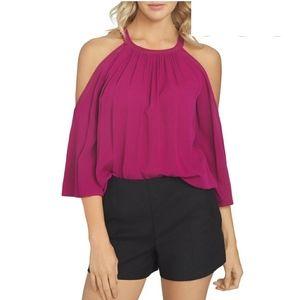1. State cold shoulder halter neck blouse S